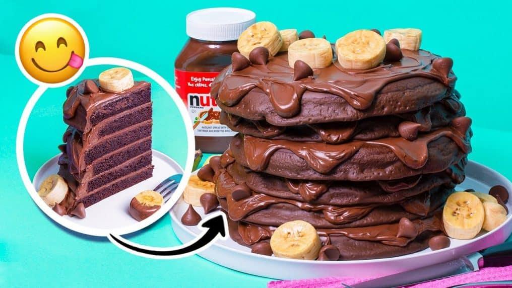 Nutella Pancakes CAKE | Chocolate, hazelnut,...