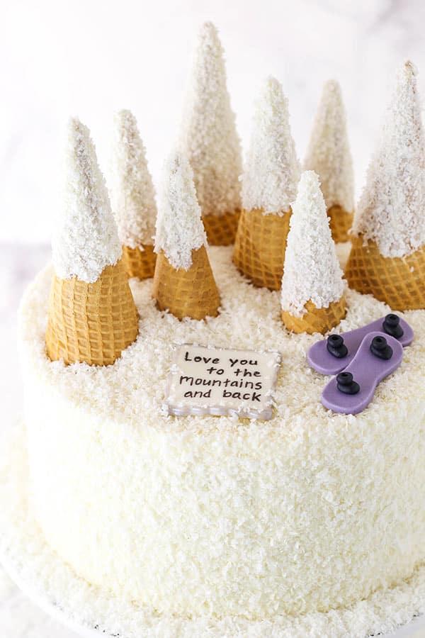snowy mountain cake