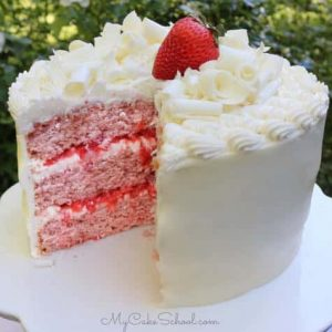 Strawberry Sour Cream Cake with White Chocolate Frosting