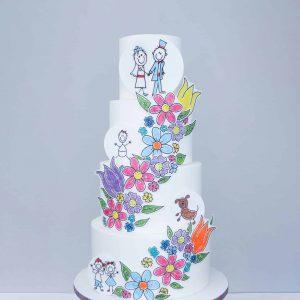 Family Doodle Wedding Cake