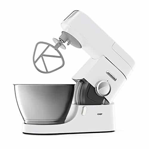 Kenwood Chef Stand Mixer for Baking Stylish Food Mixer in White with K beater Dough Hook Whisk and 46 Litre Bowl 1000 W KVC3100 White 0 0