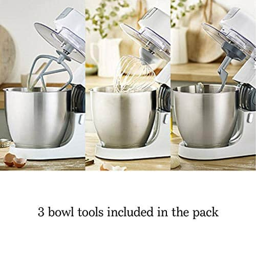 Kenwood Chef Stand Mixer for Baking Stylish Food Mixer in White with K beater Dough Hook Whisk and 46 Litre Bowl 1000 W KVC3100 White 0 4