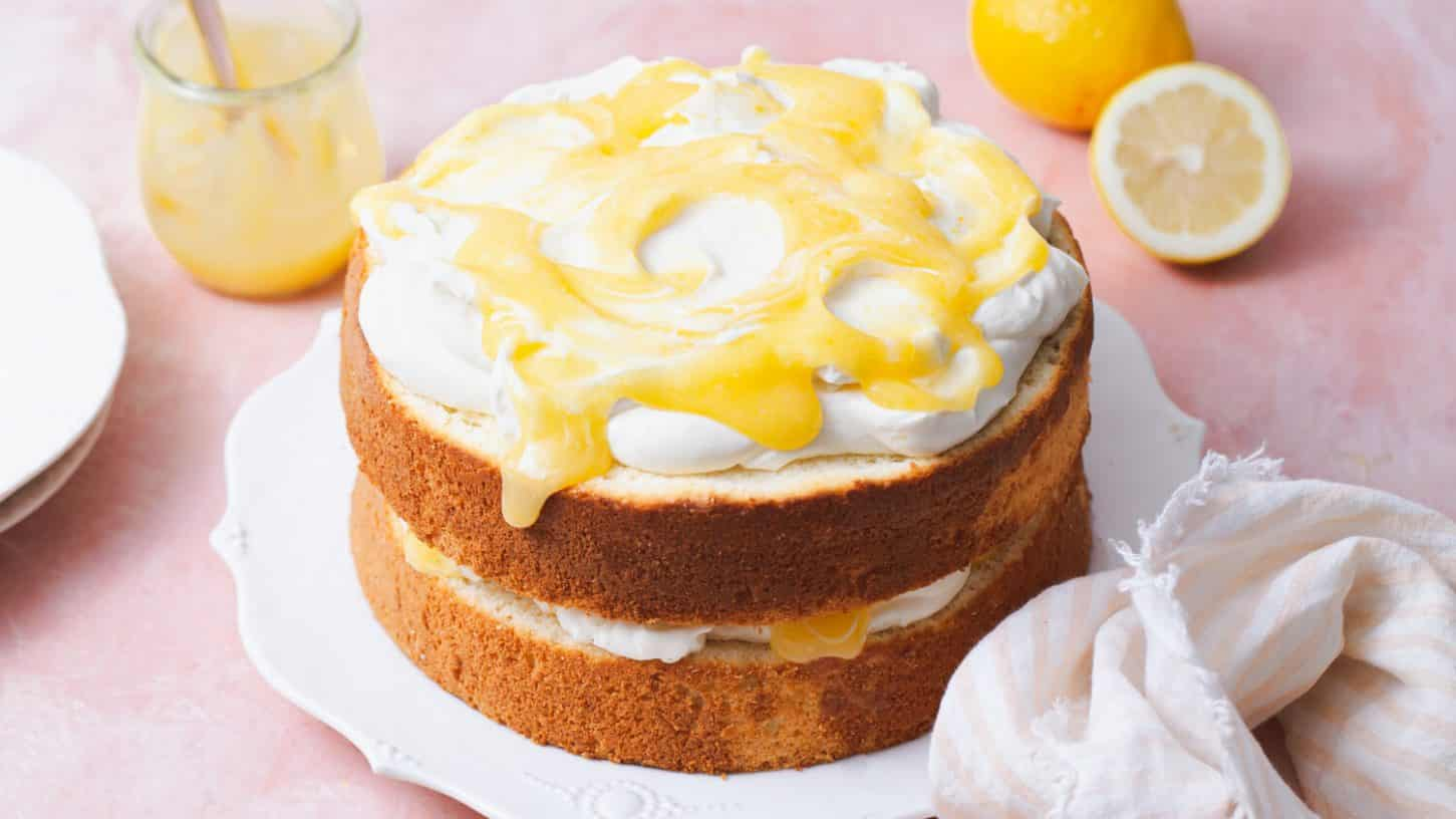 Lemon Chiffon Cake with Mascarpone Cream