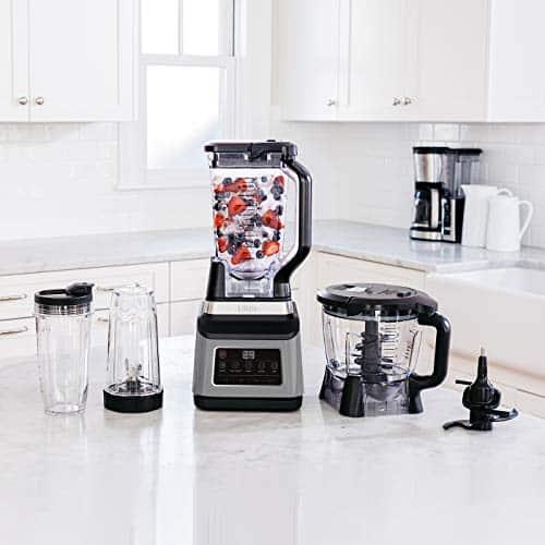 Ninja 3 in 1 Food Processor with Auto iQ BN800UK 1200W 18L Bowl 21L Jug 07L Cup BlackSilver Tritan BPA Free Plastic 1200 W 21 liters Black Silver 0 0