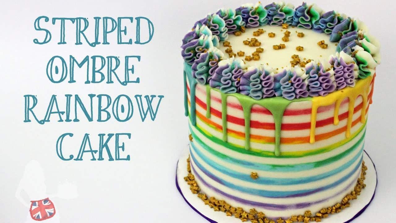 Striped Rainbow Cake With Rainbow Drip