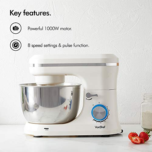 VonShef Cream Food Mixer Stand Mixer with 8 Speeds 45 Litre Mixing Bowl Splash Guard  Includes Beater Dough Hook Balloon Whisk for Cake Batter Bread Desserts and more 1000W 0 0