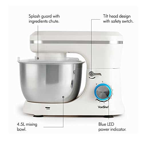 VonShef Cream Food Mixer Stand Mixer with 8 Speeds 45 Litre Mixing Bowl Splash Guard  Includes Beater Dough Hook Balloon Whisk for Cake Batter Bread Desserts and more 1000W 0 1
