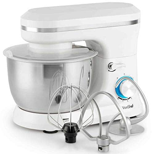 VonShef Cream Food Mixer Stand Mixer with 8 Speeds 45 Litre Mixing Bowl Splash Guard  Includes Beater Dough Hook Balloon Whisk for Cake Batter Bread Desserts and more 1000W 0 4