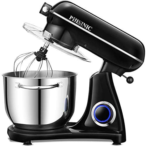 Stand Mixers for Baking PHISINIC 65L 1800W Kitchen Electric Food Mixer Metal Power Hub for Attachment with Dough Hook Whisk Beater Black 0 0