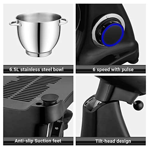 Stand Mixers for Baking PHISINIC 65L 1800W Kitchen Electric Food Mixer Metal Power Hub for Attachment with Dough Hook Whisk Beater Black 0 3