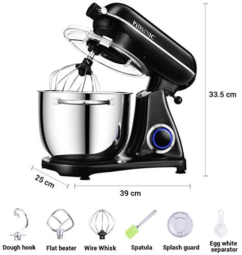 Stand Mixers for Baking PHISINIC 65L 1800W Kitchen Electric Food Mixer Metal Power Hub for Attachment with Dough Hook Whisk Beater Black 0 4