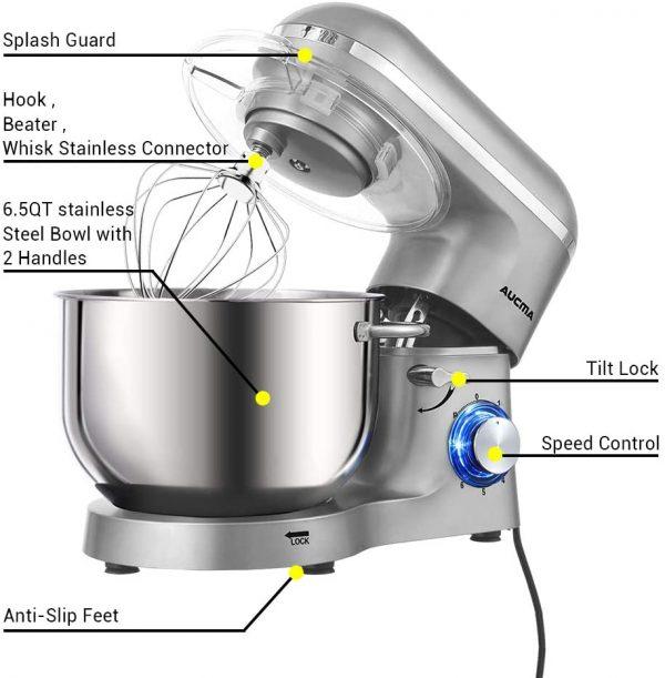 Aucma Stand Mixer Silver