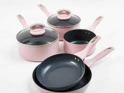 Cermalon 5-Piece Blush Pink Ceramic Non-Stick Pan Set
