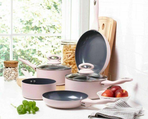 Cermalon 5-Piece Blush Pink Ceramic Non-Stick Pan Set