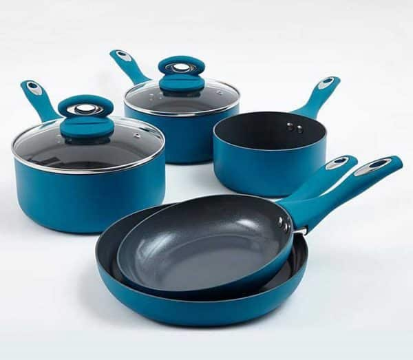 Cermalon 5-Piece Teal Ceramic Non-Stick Pan Set