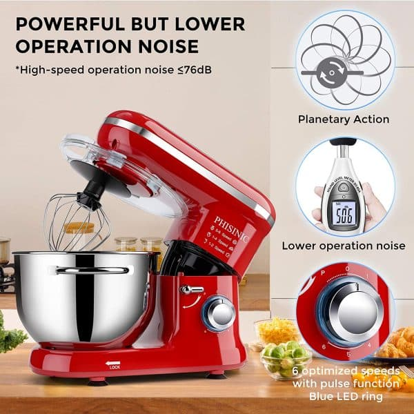 Phisinic 1500W Red Stand Mixer