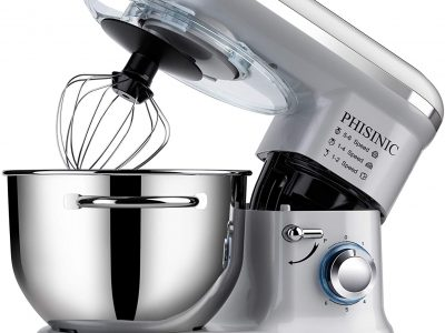 Phisinic 1500W Silver Stand Mixer - Food Stand Mixer for Baking, 5.5L 1500W, Kitchen Electric Mixer with Dough Hook, Whisk, Beater, Splash Guard, Dishwasher Safe