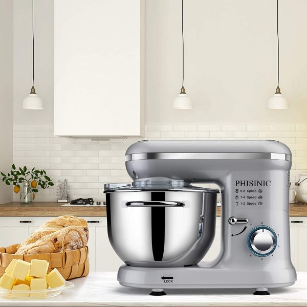Phisinic 1500W Silver Stand Mixer