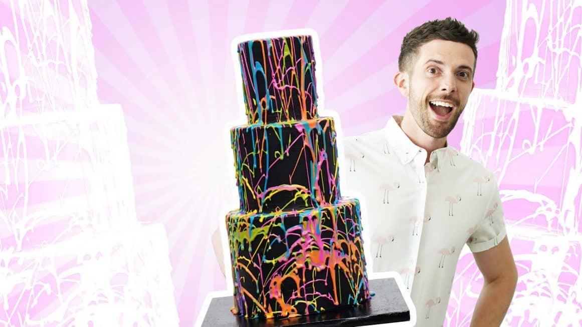 Neon Chocolate Splatter Cake
