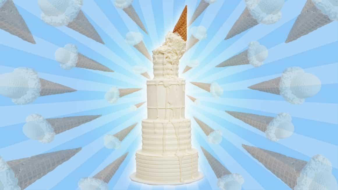 Drippy Ice Cream Wedding Cake